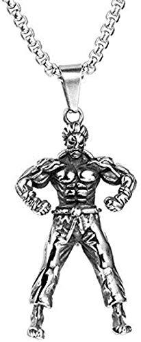 LBBYMX Co.,ltd Collar de Moda de Acero Inoxidable Kung Fu Show Power Muscle Gym Fitness Hombre Hombres Collares Colgantes de Cadena para Hombre Niño Accesorios de joyería Regalo