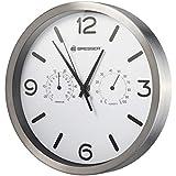 Bresser Horloge Murale Radio-pilotée MyTime ND Thermo-Hygro avec Horloge Radio-pilotée silencieuse, Cadre en Acier Inoxydable et Affichage de la température et de l'humidité - Blanc