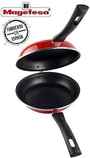 Desconocido Magefesa Praga Sartén para Tortilla 24 cm, Antiadherente bicapa Reforzado, Color Rojo Exterior. Apta para Todo Tipo de cocinas, incluida inducción, Acero, 24