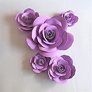 Silk Flower Arrangements Artificial and Dried Flower 5PCS Giant Foam Paper Flowers Back for Wedding & Event Outdoor Decor Baby Nursery Windows Display Artificial Waterproof - ( Color: Lilac )