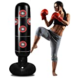 TUOWEI Punching Bag with Stand, Inflatable Punching Bag for Kids 63Inch Freestanding Boxing Bag Bounce Back for Practicing Karate, Taekwondo, MMA, Kids Adults Boxing Bag (Light Black)