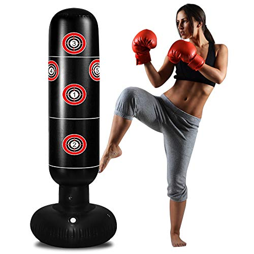 TUOWEI Kids Punching Bag, Inflatable Punching Bag for Kids 63Inch Freestanding Ninja Boxing Bag with Target Bounce Back for Practicing Karate, Taekwondo, MMA, Kids Adults Boxing Toy