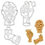 Set of 3 Zombie cookie cutters (Designs: Zombie Head, Heart in Zombie Hand, & Zombie Foot), 3 pieces - Bakerlogy