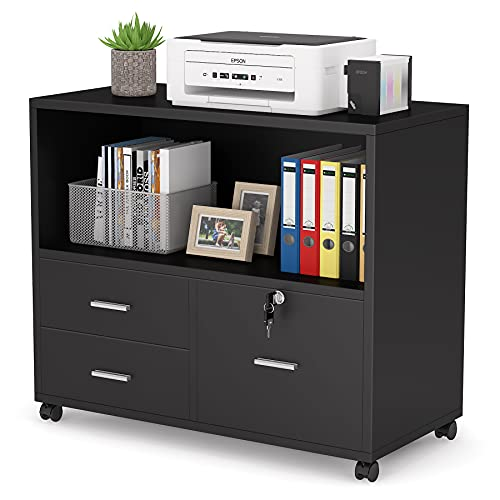 Tribesigns 3 Drawer File Cabinet with Lock, Mobile Lateral Filing Cabinet with Rolling Wheel, Large Printer Stand with Open Storage Shelves for Home Office (Black)