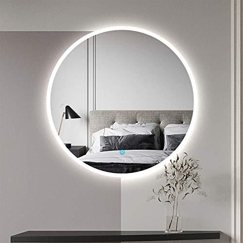 Aica Sanitär LED Badspiegel rund 70 cm Touch Beschlagfrei Wandspiegel mit Beleuchtung Lichtspiegel Beta Serie
