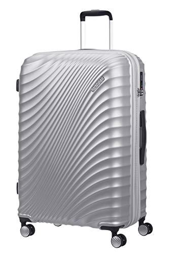 American Tourister Jetglam Spinner L Expandible Maleta, 77 cm, 109 L, Plata (Metallic Silver)