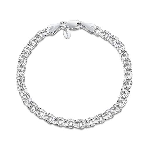 Amberta 925 Sterling Silver 4.5 mm Chunky Double Curb Chain Bracelet Length 8' inch / 20 cm (8)