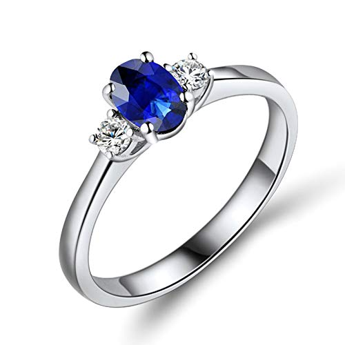 Beydodo Anillos Mujer,Anillo Mujer Oro Blanco 18 Kilates Plata Azul Oval Zafiro Azul 0.55ct Diamante 0.13ct Talla 8(Circuferencia 48MM)