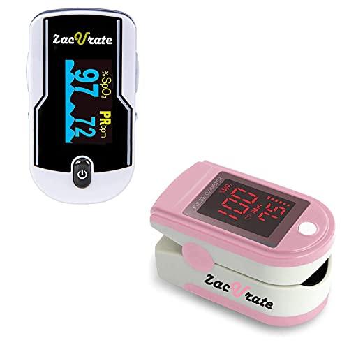 Zacurate 500E Premium Finger Pulse Oximeter and 500DL Pro Series Pulse Oximeter Fingertip Bundle