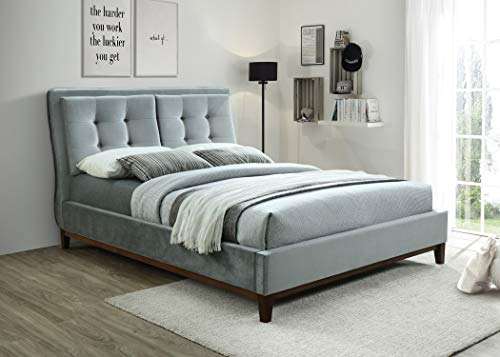 ROYALE COMFORT Venice Pillowtop Fabric Bed Upholstered Double King Size Light Grey Fabric Modern Italian Style Designer Bedroom Furniture (4FT6 Double)