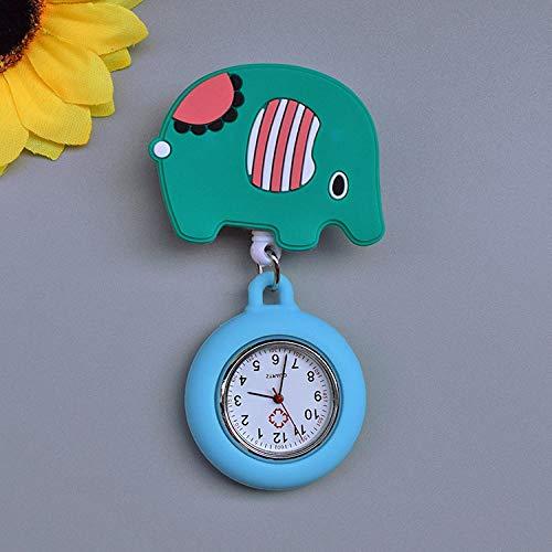 Reloj Médico de Bolsillo Colgante,El Reloj de Bolsillo Lindo de la Historieta, el Reloj retráctil del Pecho del Doctor se Puede Estirar-Elefante,Reloj de Enfermera Digital