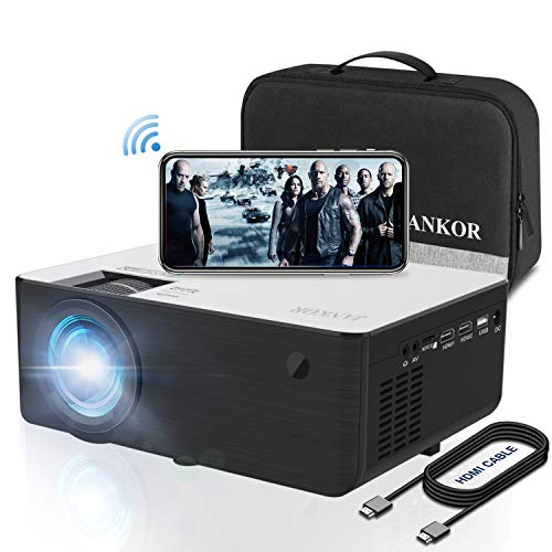 """Mini 1080P HD Projector, Bluetooth Projector, WiFi Projector Compatible with Fire Stick/Roku, 5800 Lumen 200"""" Support HDMI, VGA, Android/ iPhone/ Laptops Portable for Home Movie Outdoor【2020 Upgrade】"""