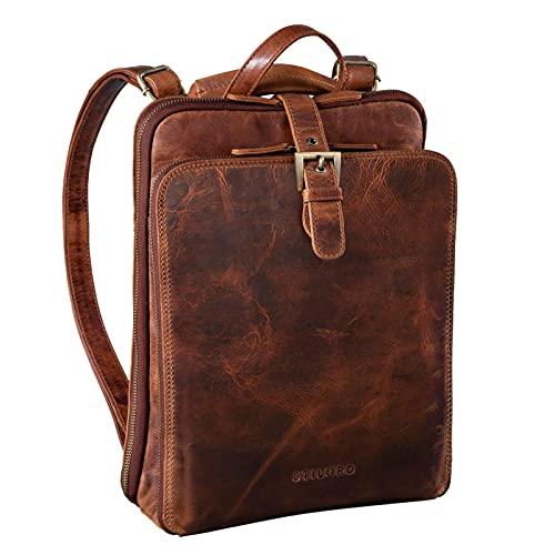 STILORD 'Vienna' Rucksack Tasche aus Leder - Praktisches 3-in-1 Konzept als Rucksack Handtasche Umhängetasche - Großer Daypack aus Echtem Vintage Leder, Farbe:Kara - Cognac