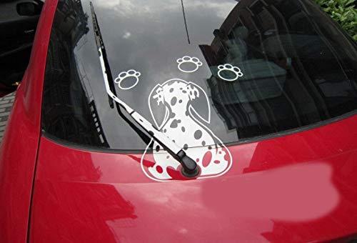 T-JPCT Autocollant de Voiture Dessin animé Mignon Dalmatien arrière fichier Autocollant en Verre bâton d'essuie-Glace Autocollant réfléchissant Autocollant de Voiture Autocollant de Voiture, Jaune