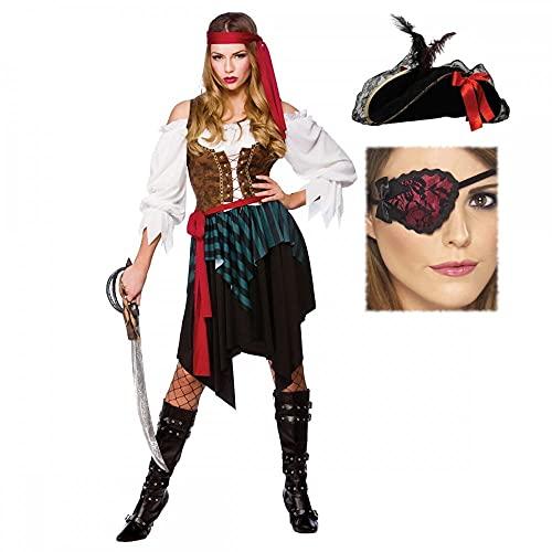 A2ZFD Disfraz de pirata caribeña para mujer + sombrero pirata súper deluxe + parche rojo con encaje y lazos (mujeres: 18-22)