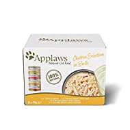 Applaws Natural Wet Cat Food, Multipack Chicken Selection in Broth 70 g Tin (Pack of 12)