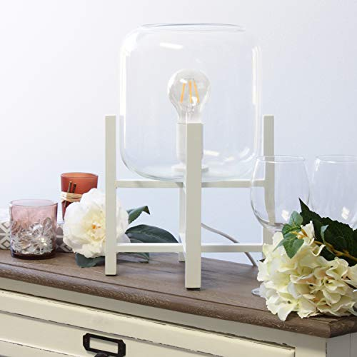 Simple Designs LT1068-WHT Wood Mounted Glass Cylinder Shade Table Lamp, White/Clear