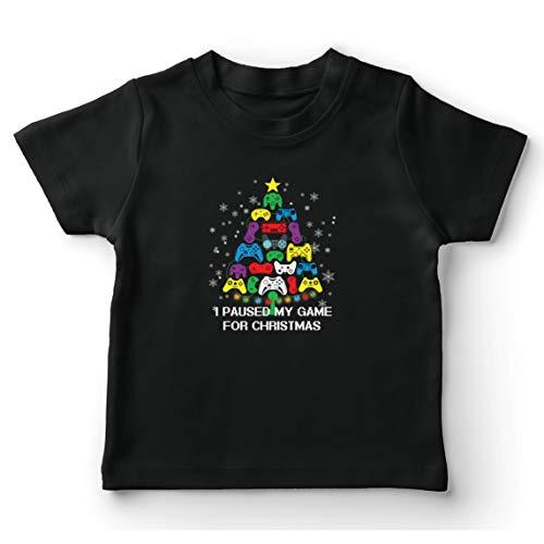 lepni.me Camiseta para Niño/Niña Pausé mi Juego para Navidad Equipo de Juego Divertido (5-6 Years Negro Multicolor)