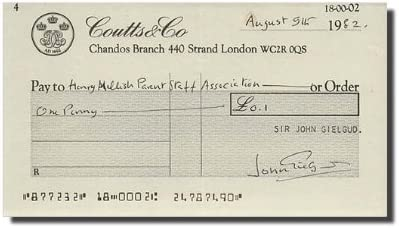SIR JOHN GIELGUD - Check Directly Popular popular managed store Note Signed Bank