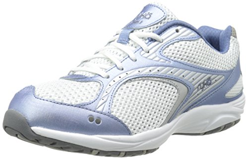 RYKA Women's Dash 2 Walking Shoe, White/Metallic Lake Blue/Chrome Silver/Steel Grey, 9 M US