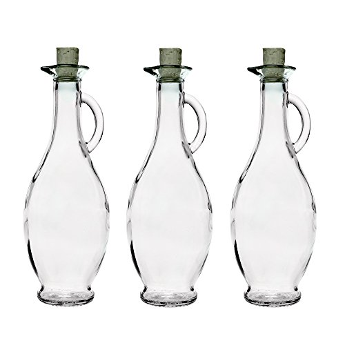 SLK GmbH 6 Botellas de Vidrio Vacías 250/500 ml 6 Unidades a Elegir con Corcho para Rellenar Botellas para Licor Vinagre Aceite Aguardiente Zumo 0,2 5/0,5 litros Blanco, 250 ml, Vidrio