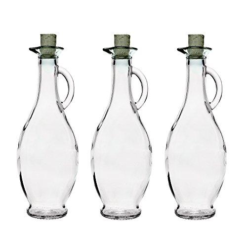 6 x 250 ml leere Glas-flaschen Karaffe Glaskaraffe Essig ÖL Behälter
