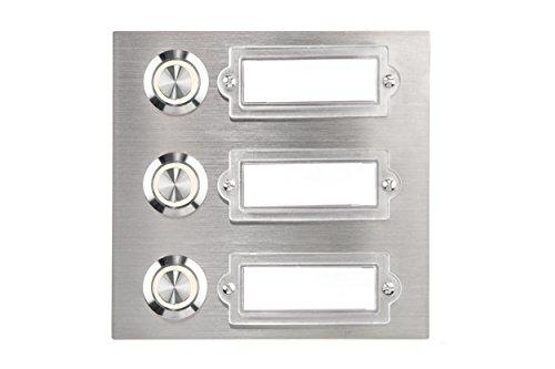 HUBER LED Klingeltaster 12786, 3-fach unterputz, rechteckig, Edelstahl, LED Lichtfarbe warm weiß