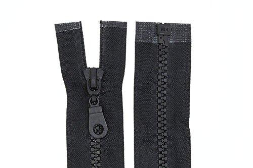 zipworld Reißverschluss Plastik/Kunststoff Reißverschlüsse mit mittelgroben Zähnen teilbar 5mm (schwarz, 70cm)