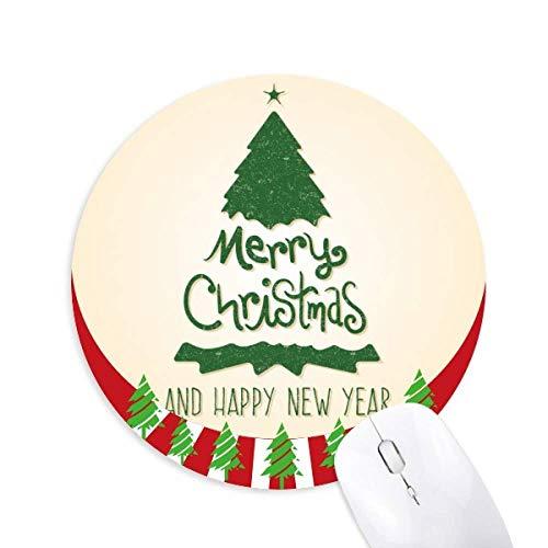 Frohe Weihnachtsbaum Grüne Illustration Rund Gummi Maus Pad Weihnachtsdekoration