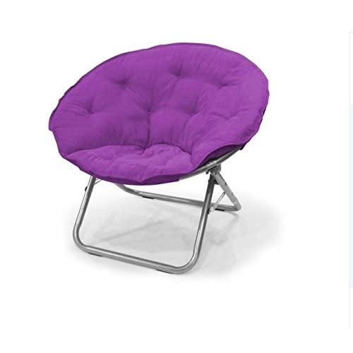 Captivating Urban Shop Contemporary Plush Microsuede Saucer Chair, Solid, Iris