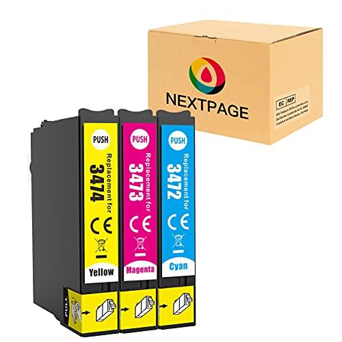 NEXTPAGE 34XL - Cartuchos de tinta de repuesto para Epson 34 34XL (compatible con impresoras Epson Workforce Pro WF-3720DWF WF-3725DWF WF-3720 WF-3725 WF3720 WF3725 (1 cian, 1 magenta, 1 amarillo)