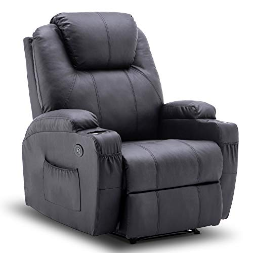 Mcombo Electric Power Recliner Chair with Massage and Heat, 2 Positions, USB Charge Ports, 2 Side Pockets and Cup Holders, Faux Leather 7050 (Black)