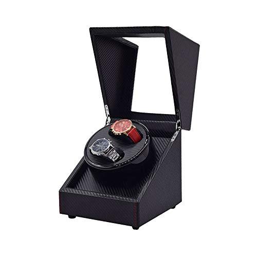 Jlxl Caja de doble reloj enrollable, fibra de carbono de piel sintética, motor extremadamente silencioso, compatible con relojes de señora y hombre, accesorios negros