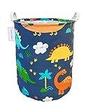 QIMI Large Storage Bins,Waterproof Laundry Hamper with Handles Canvas Organizer Bin for Kids Hamper Nursery Hamper (Blue Dinosaur)