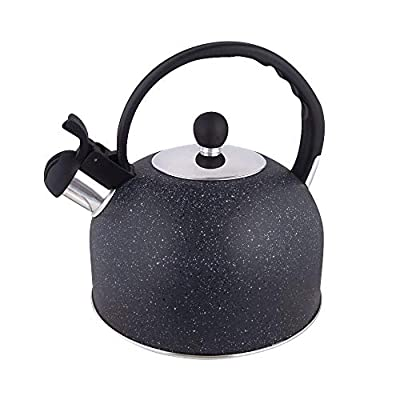 Whistling Tea Kettle, 2.3 Quart Stainless Steel Teapot, Tea Pots for Stove Top Black
