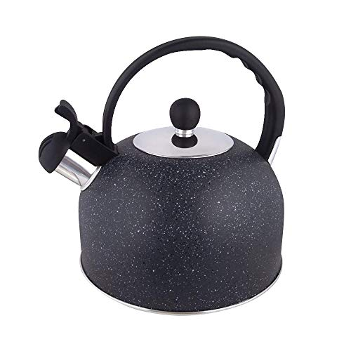 Beilaibo Tea Kettle, Teapot with Loudd Whistle and Anit-Hot Handle, Food Grade Stainless Steel Water Kettel for Home, Large Stove Teakettle Suitable for All Heat Sources Black