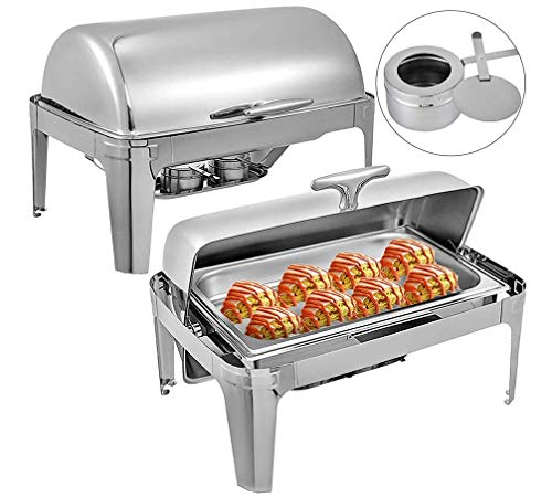 HYLH 2 Packungen Edelstahl Roll Top Chafing Dishes 9 L / 8 Quart Chafing Dish Pfanne Catering Container Buffet Chafer Dishes