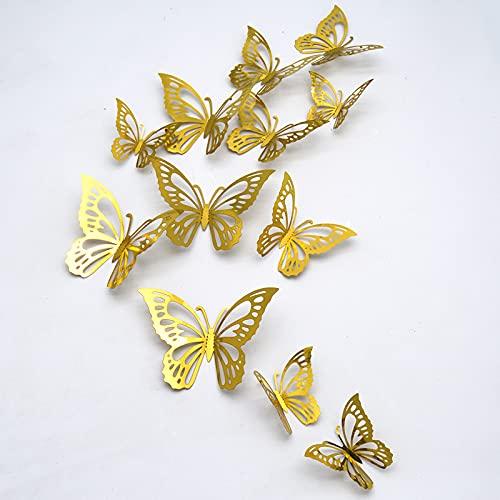 Mariposas Decorativas 3D, CAYUDEN 24 pcs Extraíbles 3 Tamaños Espejos Decorativos de...
