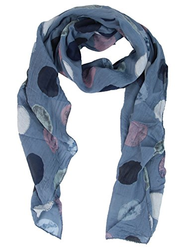 Cashmere Dreams Seiden-Tuch für Damen mit Punkt-Print von Zwillingsherz/Elegantes Accessoire für Frauen auch als Schal/Seiden-Schal/Halstuch/Schulter-Tuch oder Umschlagstuch einsetzbar (jeansblau)