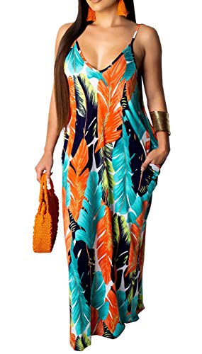 Womens Sexy Summer Spaghetti Strap Bohemian Printed Beach Sundress Loose Plus Size Long Maxi Dresses with Pockets