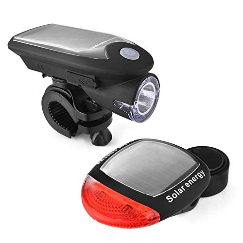 hotder Picache Solar Bike Light Set, USB Rechargeable Front Light Bicycle Waterproof Solar Headlight and Solar Bike Taillight, Front Light and Rear Light with 2 Mounting Brackets