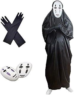 Opmch_cos ユキホーム カオナシ 千と千尋の神隠し コスプレ (衣装、黒マスク、紫マスク、手袋) 4点セット フリーサイズ 男女共用 プレゼント (男S)