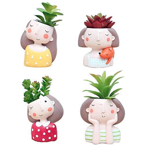 Youfui Cute Girls Flowerpot Animal Resin Succulent Planter Desk Mini Ornament (4pcs Girls Combination)