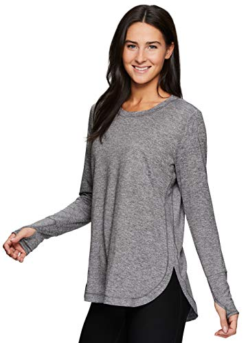 RBX Active Women's Fashion Basics Super Soft Peached Long Sleeve Crewneck Yoga Tunic T-Shirt Charcoal S