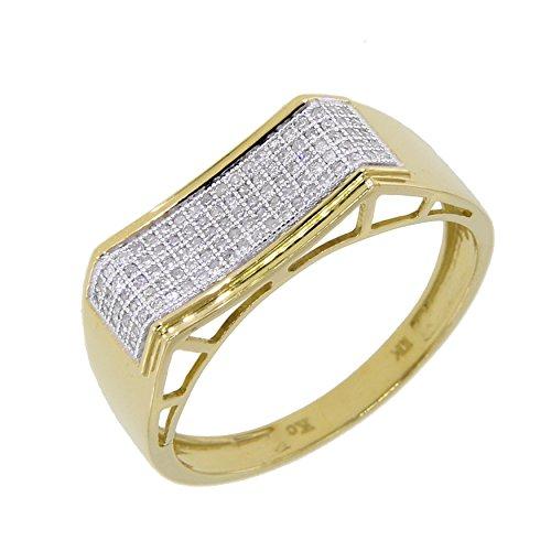 0.24 Carat (Ctw) 10K Gold Round White Diamond Men's Hip Hop Anniversary Wedding Band (4) (0.24 Ct Pave Diamond)