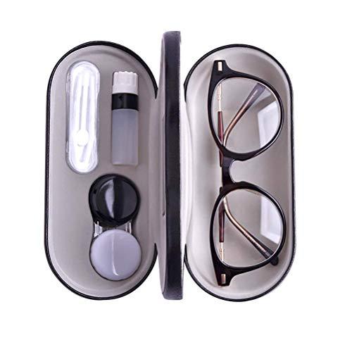 DealMux estuche para anteojos y lentillas, estuche doble negro para anteojos y lentillas - 2 en 1 - con estuche para lentes de contacto con espejo Funda protectora portátil