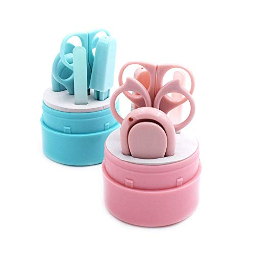 Mignon coupe-ongles Kit costume bébé soins infirmiers coupe-ongles ensemble outil de manucure Portable ensembles de pédicure 5 pièces bleu lapin