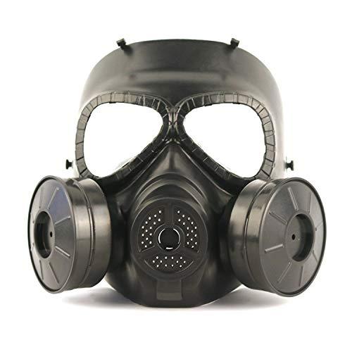 SHENXX Gasmaske Vollmaske, Gasmaske, Live-CS-Feldausrüstung, Helm, Doppelventilator, Taktischer Militärfan, Der Hühnermaske Isst,Schwarz