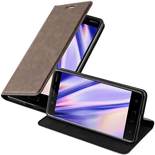 Cadorabo Hülle für Nokia 5-2017 - Hülle in Kaffee BRAUN – Handyhülle mit Magnetverschluss, Standfunktion & Kartenfach - Case Cover Schutzhülle Etui Tasche Book Klapp Style