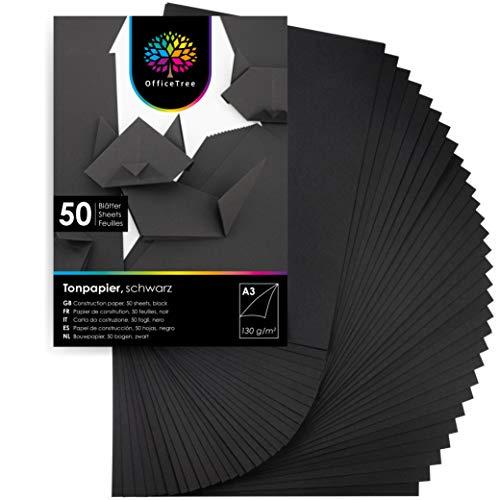 OfficeTree Tonpapier Schwarz A3 - Schwarzes Bastelpapier 50 Blatt 130g/m² - Tonkarton A3 Schwarz zum Basteln und Gestalten - Blauer Engel zertifiziert